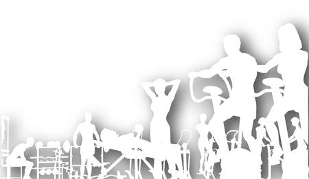 Ilustración de Editable vector cutout of people exercising in a gym with background shadow made using a gradient mesh - Imagen libre de derechos