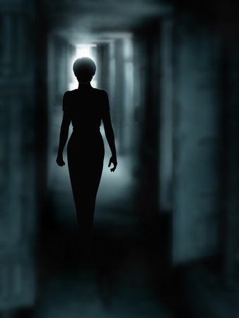 Illustration pour Editable vector illustration of a woman's silhouette walking down a dark passage made using a gradient mesh - image libre de droit