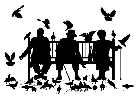 Illustration for Editable vector silhouettes of three elderly people on a park bench feeding pigeons with all elements as separate objects - Royalty Free Image