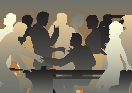 Illustration for Editable vector silhouettes of people in a busy office or meeting - Royalty Free Image