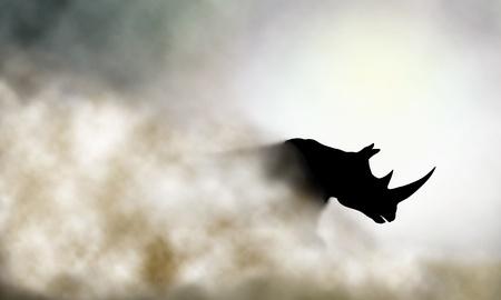 Ilustración de Editable vector illustration of a charging rhinoceros and dust cloud made using a gradient mesh - Imagen libre de derechos