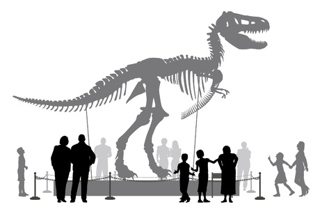 Illustration pour Editable vector silhouettes of people looking at a Tyrannosaurus rex skeleton in a museum - image libre de droit