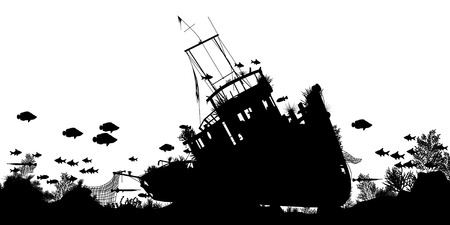 Illustration pour Editable vector silhouette foreground of coral and fish around a sunken boat with ship and fish as separate objects - image libre de droit