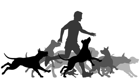 Vektor für Editable vector silhouettes of a man and pack of dogs running together with all elements as separate objects - Lizenzfreies Bild