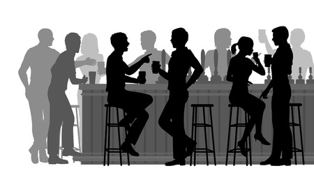 Illustration pour EPS8 editable vector cutout illustration of people drinking in a busy bar with all figures as separate objects - image libre de droit