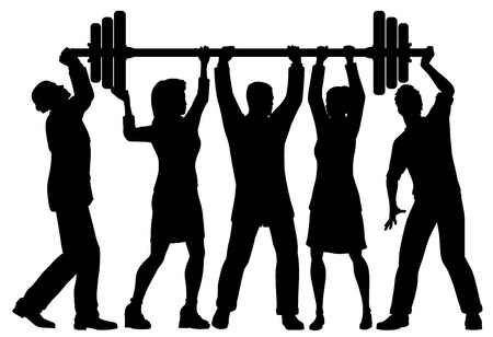 Ilustración de EPS8 editable vector silhouette of a business team working together to lift a heavy weight barbell with all figures as separate objects - Imagen libre de derechos
