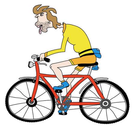 Illustration pour Editable vector cartoon illustration of a man riding a bicycle - image libre de droit