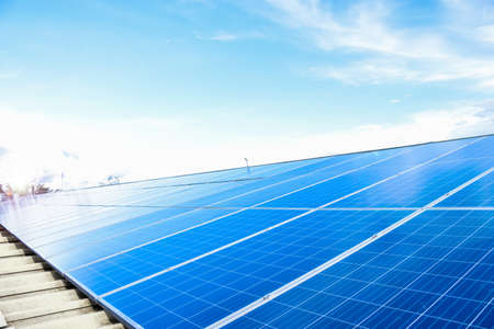 Photo pour Photovoltaic which installed on the roof of the building, sustainable power, environment, green energy concept. - image libre de droit