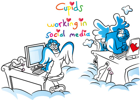 Cupids working in social media illustration.