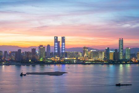 Photo for modern high-rise buildings line the new honggutan district in nanchang, jiangxi province. - Royalty Free Image