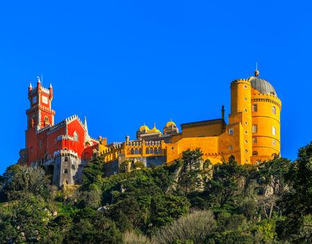 Pena National Palace, famous landmark, Sintra, Lisbon, Portugal, Europe.