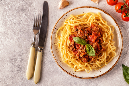 Foto de Italian pasta bolognese. Top view. - Imagen libre de derechos