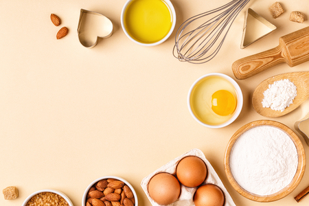 Photo for Ingredients and utensils for baking on a pastel background, top view. - Royalty Free Image