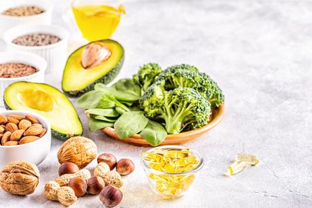 Photo pour Vegan sources of omega 3 and unsaturated fats. Concept of healthy food. - image libre de droit