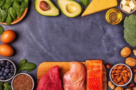 Foto de Ketogenic diet concept. Balanced low carb, high good fat , healthy food. - Imagen libre de derechos