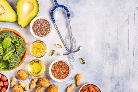 Photo pour Vegan sources of omega 3 and unsaturated fats. Concept of healthy food. Top view. - image libre de droit