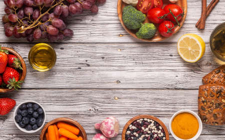 Photo for Foods that could lower risk of cancer, top view - Royalty Free Image