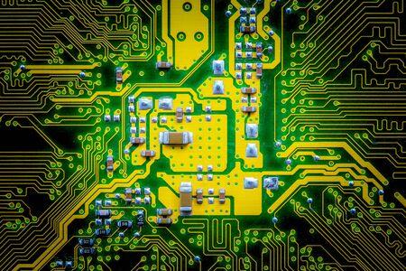 Photo pour Closeup electronic circuit board background. Computer hardware. - image libre de droit