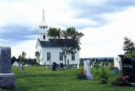 Old weathered church and cemetery near St Stephen, New Brunswick, Canada