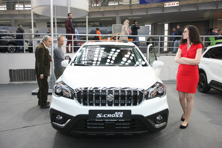 BELGRADE,SERBIA-MARCH 27,2018: Suzuki S-Cross 1.0 Boosterjet GL+ 2WD AT at DDOR BG Car Show 06
