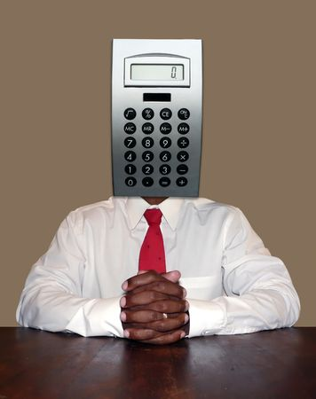 accountant and calculating businessman personality concept photo manipulation depicting a calculator for a head sitting at a desk ready for a meeting