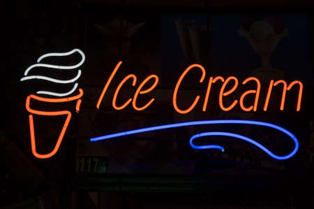 ice-cream neon lable and sign isolated on black