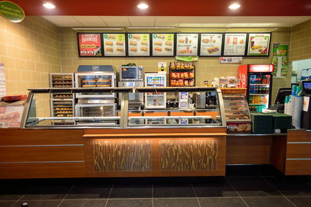 Photo for NICE, FRANCE - AUGUST 15, 2015: Subway fast food restaurant interior. Subway is an American fast food restaurant franchise that primarily sells submarine sandwiches (subs) and salads. - Royalty Free Image