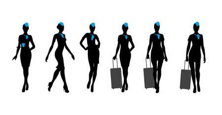 Ilustración de vector image of flight attendantes silhouette, isolated on white - Imagen libre de derechos