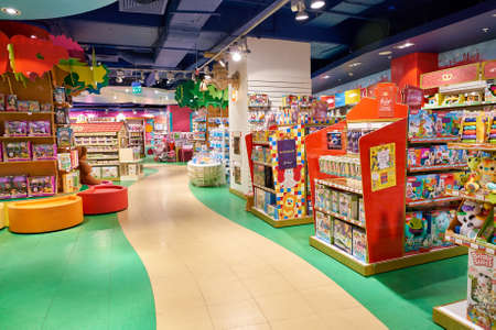 Photo pour SAINT PETERSBURG, RUSSIA - CIRCA OCTOBER, 2017: inside a Hamleys toy store in St. Petersburg. Hamleys is the oldest and largest toy shop in the world and one of the world's best-known retailers of toys. - image libre de droit