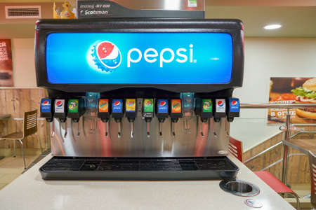 Photo for SAINT PETERSBURG - CIRCA OCTOBER, 2017: beverage soda fountain system at Burger King restaurant. Burger King is an American global chain of hamburger fast food restaurants. - Royalty Free Image