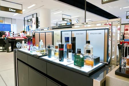 Photo pour DUSSELDORF, GERMANY - CIRCA SEPTEMBER, 2018: Armani fragrance bottles on display at Galeria Kaufhof in Dusseldorf. - image libre de droit
