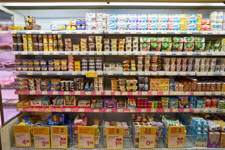 Photo pour VIENNA, AUSTRIA - CIRCA MAY, 2019: interior shot of a BILLA supermarket in Vienna. BILLA is an Austrian supermarket chain. - image libre de droit