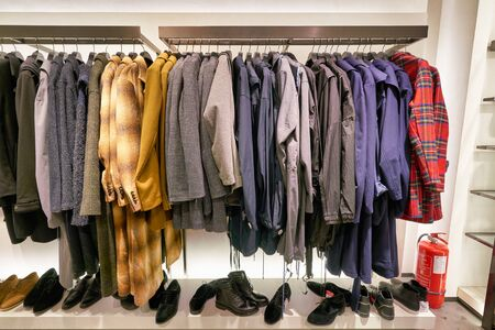 Photo pour HONG KONG, CHINA - JANUARY 23, 2019: clothes on display at Zara store in New Town Plaza. New Town Plaza is a shopping mall in the town centre of Sha Tin, Hong Kong. - image libre de droit