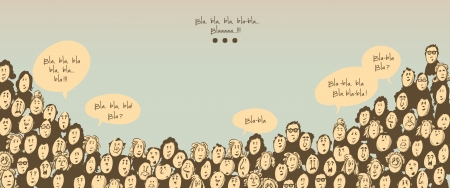 Crowd talking- cartoon characters