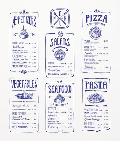 Menu template  Blue pen drawing  Appetizers, vegetables,salads, seafood, pizza, pasta