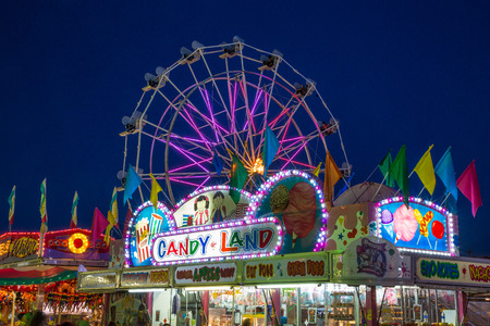 A colorful night on the midway at the Shasta County Fair in Anderson, California.