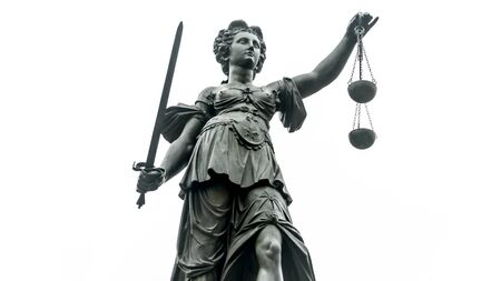 Photo pour Justice Statue with Sword and Scale in Frankfurt/Main isolated on white Background - image libre de droit