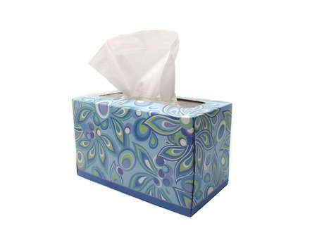 Blue Box of Tissues on White Background