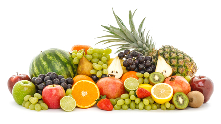 Photo for A heap of many different tropical fruits isolated on white background. Healthy food and nutrition, vegan lifestyle and organic fair trade concept. - Royalty Free Image