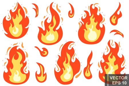 Ilustración de Flat style. The fire. Cartoon. Bright hot. Flame. Effect. For your design. - Imagen libre de derechos