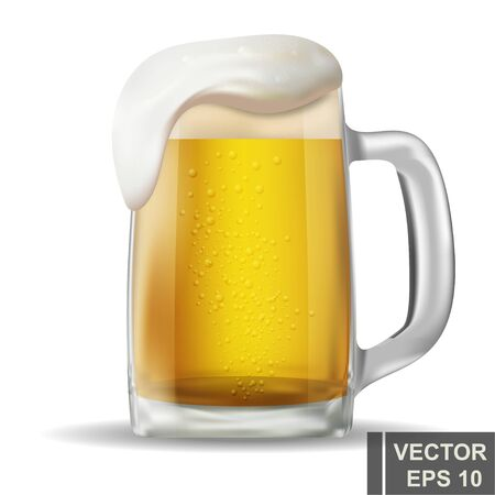Illustration pour realistic beer mug. Alcoholic drink. Bright. Isolated object. For your design. - image libre de droit