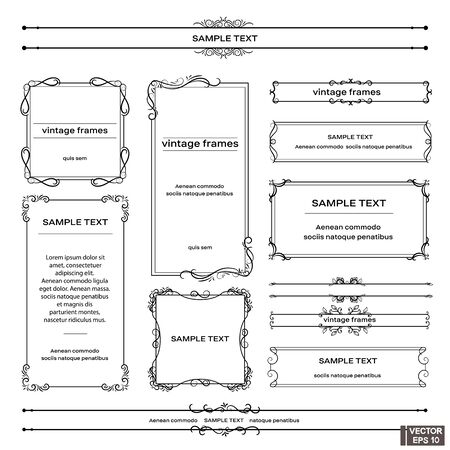 Illustration pour Vector image. Set of vintage frames. Scrolls and curls, elements for design. - image libre de droit