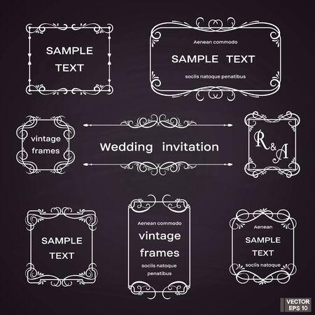 Illustration for Vector image. Set of vintage frames with floral scrolls and curls. White on black background. - Royalty Free Image