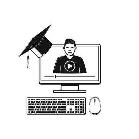 Illustration pour Online education and study. Web learning and training concept icon - image libre de droit