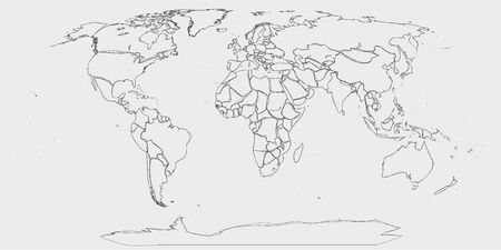 Illustration pour World map - hand drawn lines like sketch world map in greyscale - image libre de droit