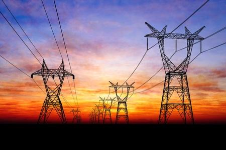 Photo pour Electricity pylons - image libre de droit