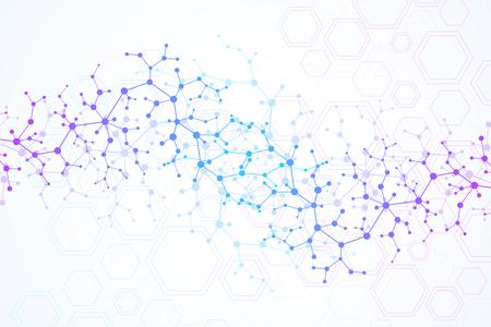 Ilustración de Scientific molecule background for medicine, science, technology, chemistry. Wallpaper or banner with a DNA molecules. Vector geometric dynamic illustration - Imagen libre de derechos