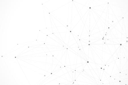 Ilustración de Abstract polygonal background with connected lines and dots. Minimalistic geometric pattern. Molecule structure and communication. Graphic plexus background. Science, medicine, technology concept. - Imagen libre de derechos