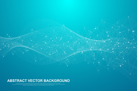 Illustration pour Abstract plexus background with connected lines and dots. Plexus geometric effect Big data with compounds. Lines plexus, minimal array. Digital data visualization. Vector illustration. - image libre de droit