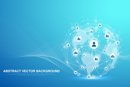 Illustration pour Global structure networking and data connection concept. Social network communication in the global computer networks. Internet technology. Business. Science. Vector illustration - image libre de droit